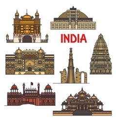 Travel landmarks indian architecture icon vector
