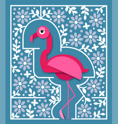 Tropical bird in paper cut style pink flamingo vector