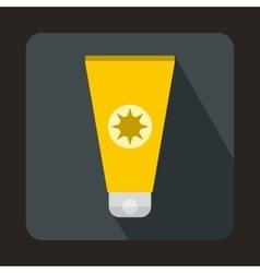 Tube with sunbathing cream icon flat style vector