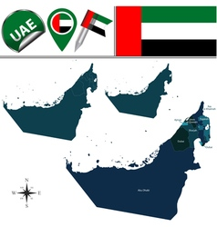 United Arab Emirates map with named divisions vector image
