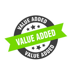 Value added sign value added black-green round vector