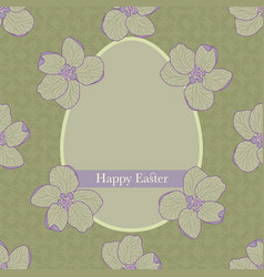 Vintage happy easter greeting card with an egg vector
