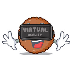 Virtual reality chocolate biscuit mascot cartoon vector