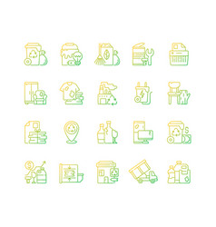 waste management gradient linear icons set vector image