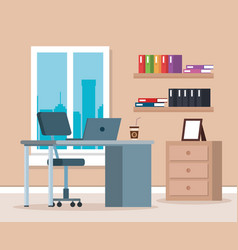 Workplace office scene icons vector