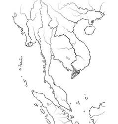 World map indochina indochinese peninsula vector