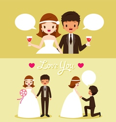 Bride And Black Skin Groom In Wedding Clothing Set vector image vector image