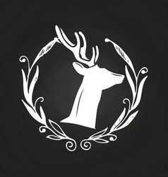 chalkboard hipster logo with hand drawn wreath and vector image
