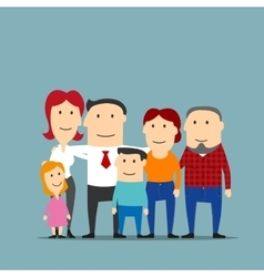 Happy multigenerational family cartoon portrait vector image
