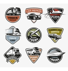 Isolated Transport Retro Logos Set vector image vector image