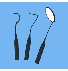 Tools Dentist Set Design Flat Isolated vector image