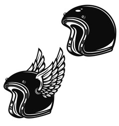 winged racer helmet isolated on white background vector image