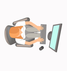 woman in office clothing works on computer view vector image vector image