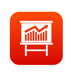 growing chart presentation icon digital red vector image vector image