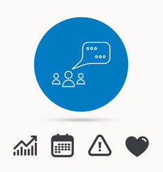 meeting icon chat speech bubbles sign vector image