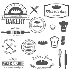 Set of vintage bakery logos labels badges and vector image