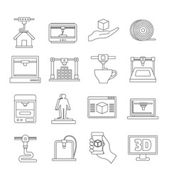 3d printing icons set outline style vector