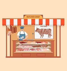 butcher shop meat man seller store shelves with vector image