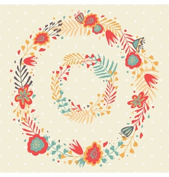 Floral Frame Cute retro flowers wreathes vector image vector image