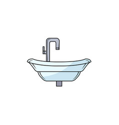 hand drawn bathroom sink washbasin with faucet vector image
