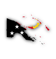 Map and flag of papua new guinea vector