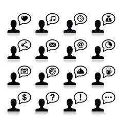 User communication black icons set vector image vector image
