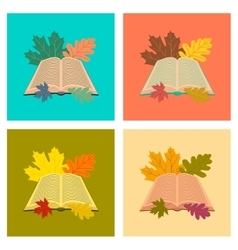 assembly flat icons open book leaves vector image vector image