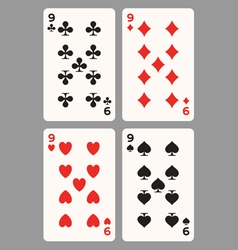Playing cards nine vector image