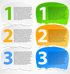 Torn paper progress option labels vector image vector image