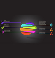 3d infographic template with embossed circle vector image
