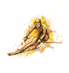 Abstract biathlete from a splash watercolor vector