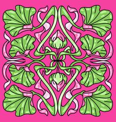 Art nouveau ceramic tile pattern floral motifs vector