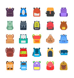 Back to school kids school backpack flat icons se vector