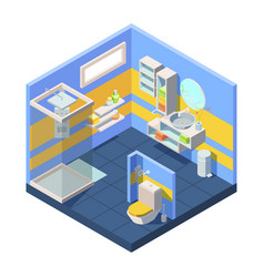 bathroom isometric compact bathroom vector image