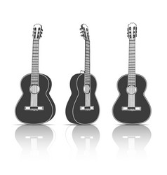 Black acoustic guitar vector