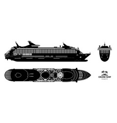 Black silhouette cruise ship side top front vector