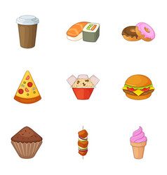 Breakfast in fast food icons set cartoon style vector