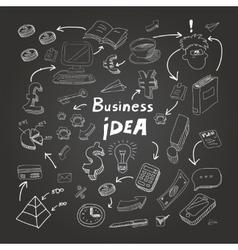 Business doodles chalk on blackboard eps10 vector