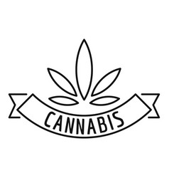 cannabis emblem logo outline style vector image