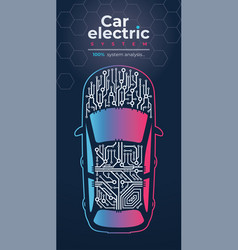car electrical system analyzing vector image