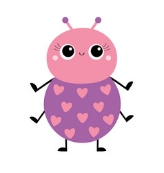 Cartoon beetle bug insect animal pink and violet vector