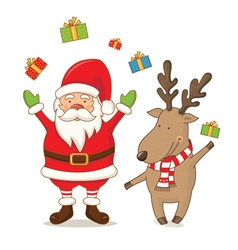 Cartoon cute Santa Claus and deer vector