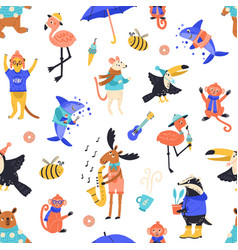 cartoon funny creatures seamless pattern vector image