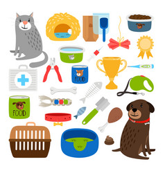Cat and dog items vector