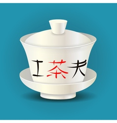 Chinese traditional tea bowl gaiwan vector