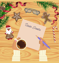 Christmas celebration with hot coffee vector
