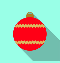 christmas tree red ball icon vector image