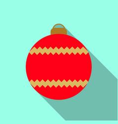 christmas tree red ball icon vector image
