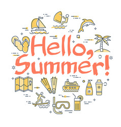colorful icons in hello to summer theme vector image