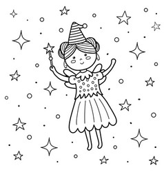 Coloring page for kids with a cute fairy flying vector